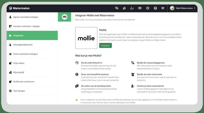 Mollie Integratie menu